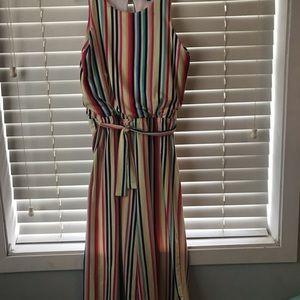 Girls Multi-color Striped One-Piece Romper XL